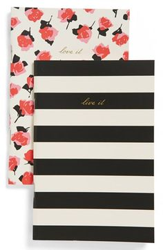 kate spade new york notebooks  rose,black and white stripes