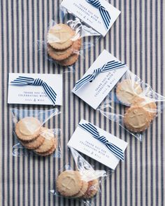 """And the MOH baked butter cookies """"embossed"""" with anchors for favors."""