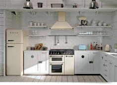 The Smeg Burghley Range Cooker in Cream Smeg Kitchen, Smeg Fridge, White Kitchen Appliances, Kitchen White, Cottage Kitchens, Home Kitchens, Range Cooker Kitchen, Cottage Shabby Chic, Kitchen Designs Photos