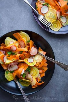 Shaved Beet Carrot and Radish Salad with Coriander Mustard Vinaigrette from GourmandeintheKitchen.com Shaved Golden Beet, Carrot and Radish Salad with Coriander Mustard Vinaigrette