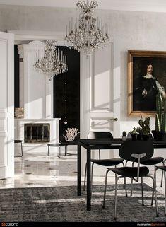 White Interior Design, Interior Design Inspiration, Interior Decorating, Baroque Decor, Modern Baroque, Scandinavian Style, Art Deco Living Room, Neoclassical Interior, Home Interiors And Gifts