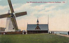 POSTCARD THE WINDMILL AND ST JOHNS CHURCH LYTHAM   eBay