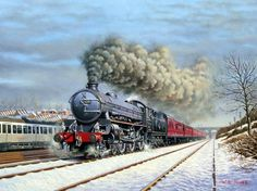 Railway paintings by Wynne B Jones | Artist from North Wales.Winter Through New Southgate  B1 No. 61409 at the head of a down express through New Southgate circa 1962. Oil on canvas. Held in a private collection..17