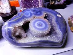 Agate Amethyst Geode (Blue Lace Agate.) From Brazil