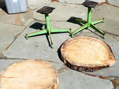 How To Make An Upcycled Table From Old Log And A Chair Base
