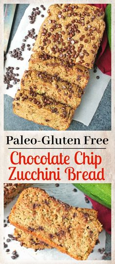 Paleo Zucchini Bread, Chocolate Chip Zucchini Bread, Paleo Chocolate Chips, Gluten Free Banana Bread, Gluten Free Baking, Zucchini Banana, Paleo Baking, Delicious Chocolate, Gluten Free Recipes For Breakfast