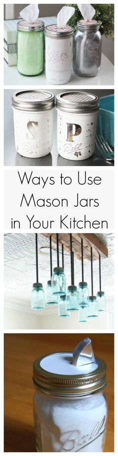 Handy Ways to Use Mason Jars In Your Kitchen Say hello to your new favorite kitchen decorating ideas because these Mason jars are adorable.Say hello to your new favorite kitchen decorating ideas because these Mason jars are adorable. Pot Mason Diy, Mason Jars, Mason Jar Kitchen, Diy Kitchen, Glass Jars, Kitchen Decor, Kitchen Ideas, Kitchen Themes, Country Kitchen