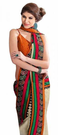 Triveni Cream Jute Silk Office Wear Printed Indian Saree - TSHTXFG2338B