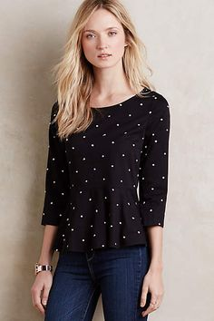 Dotty Peplum Top - anthropologie.com