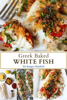 Greek baked white fish, simple recipe made with frozen swai, lemon, butter, Greek seasonings and an unexpected topping of crushed canned crispy onions. Cod Recipes, Greek Recipes, Seafood Recipes, Healthy Recipes, Halibut Recipes, Amish Recipes, Recipe For Pastitsio, Greek Fish Recipe, Luncheon Recipes