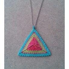 Miyuki Kolye Seed Bead Tutorials, Beading Tutorials, Beaded Necklaces, Bead Weaving, Triangles, Beadwork, Seed Beads, Pendants, Stud Earrings