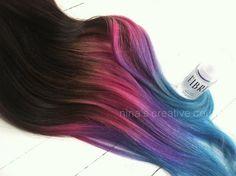 "Ombre Hair,Tie dye Hair, Dark Brown Hair Extensions, Pink Ombre, Purple Hair, Steel Blue Hair, Pink, 22"", Custom Your Co"