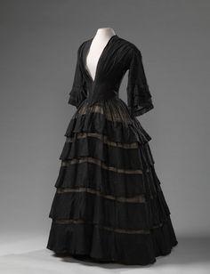 Gown, woolen muslin, 1850-1855