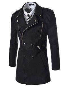 (NDC01-BLACK) Slim Fit Big Zipper Rider Style Coat