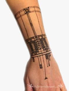 Frank Lloyd Wright inspired Henna by Gretchen Fleener www.Paintertainment.com