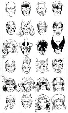 Headshots of the X-Men by Alan Davis.