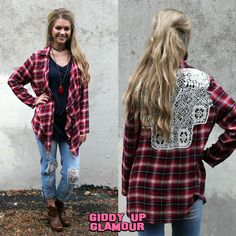 You Had Me At Plaid Cardigan with Crochet Back