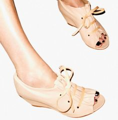 Nude tie wedge shoes - lovely with the dark toe polish.