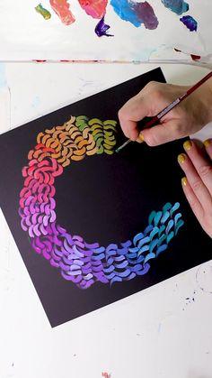 Gouache Painting on Black Paper Gouache Painting, Diy Painting, Black Canvas Paintings, Black Canvas Art, Black Paper Drawing, Mandala Art Lesson, Buddha Painting, Ecole Art, Cool Art Drawings