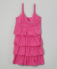 Look what I found on #zulily! Fuchsia Tiered Lace-Trim Dress - Girls #zulilyfinds