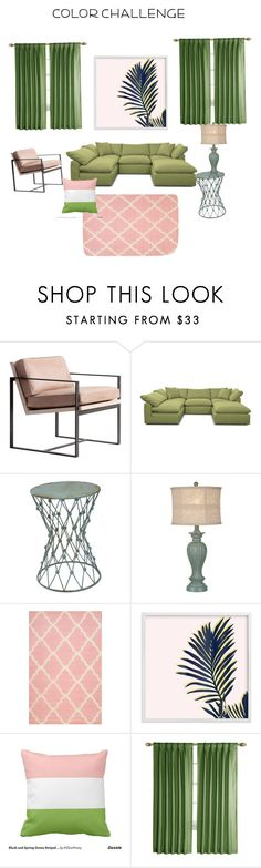 """""""Color Challenge Pantone Green and Blush home decor"""" by donnala73 ❤ liked on Polyvore featuring interior, interiors, interior design, home, home decor, interior decorating, Redford House, Joybird, Sagebrook Home and nuLOOM"""
