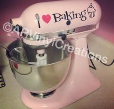 Set of 2 I Heart Baking Stand Mixer Decal by ARVinylCreations