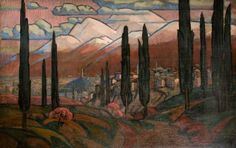 Town in the Mountains with Poplars Roger Eliot Fry - circa 1910-1920
