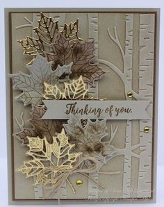 Stampin' Up! Colorful Seasons, woodland embossing folder Stampin' Up! Holiday Cards, Christmas Cards, Handmade Thanksgiving Cards, Prim Christmas, Timmy Time, Tarjetas Pop Up, Stampin Up Karten, Leaf Cards, Embossed Cards