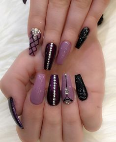 There are three kinds of fake nails which all come from the family of plastics. Acrylic nails are a liquid and powder mix. They are mixed in front of you and then they are brushed onto your nails and shaped. These nails are air dried. Winter Nail Designs, Toe Nail Designs, Acrylic Nail Designs, Nails Design, Purple Nail Designs, Purple Nails, Bling Nails, My Nails, Gems On Nails