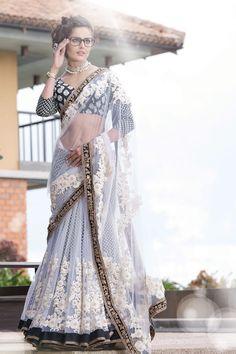 White Net Thread Work #Saree In Black & Gold Velvet Border.