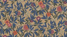 Primavera (PR105) - Sanderson Wallpapers - Available now from wallpaperdirect an exclusive colourway of this design.  Based on a 1926 document, with a rich gold lustre background, vivid cobalt blue leaves and fuchsia and orange highlights. Please request sample for true colour match.
