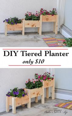 DIY Tiered wooden planter tutorial with plans and video Only 10 Perfect beginners build Diy Wooden Planters, Tiered Planter, Wooden Diy, Diy Planters Outdoor, Fall Planters, Flower Planters, Backyard Planters, Planter Box Plans, Diy Planter Box