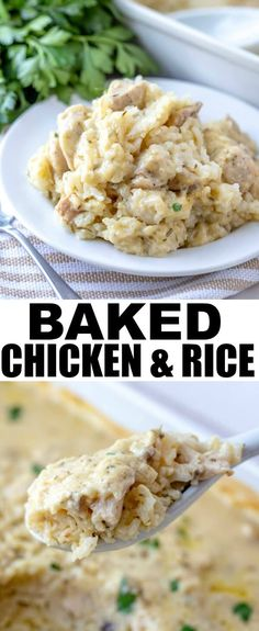 Want something addicting, full of flavor and a family favorite that everyone will love? This Baked Chicken and Rice is a perfect solution for the weeknight dinner rut. via Tornadough Alli Baked Chicken, Chicken Recipes, Chicken Rice Bake, Cooking Recipes, Healthy Recipes, Fast Recipes, Easy Cooking, Rice Recipes, Vegetarian Recipes