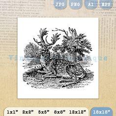 Digital Image Antique Deer Graphic by VintageRetroAntique on Etsy