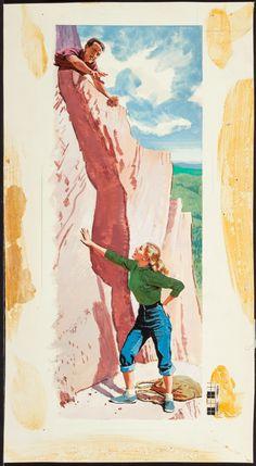 """Mountain Climbing""; The American Weekly magazine illustration, August 15, 1954. Art: Ward Brackett. #wardbrackett #pulpart #americanweeklymagazine  http://fineart.ha.com/itm/illustration-art/ward-brackett-american-1914-mountain-climbing-the-american-weekly-magazine-illustration-august-15-/p/5185-86006.s#1172811728545"