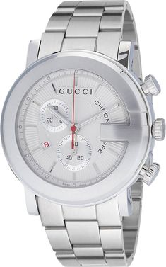 Gucci 100 G Chrono Mens Quartz Silver Dial Watch Gucci Watches For Men, Mens Designer Watches, Cool Watches, Fashion Watches, Men's Fashion, Cheap Watches, Fossil Watches, Men's Watches, Silver Watches