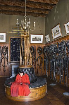 Tack Room - Château Chaumont, Loire. Love the lunge whips and the board with bits and hardware!