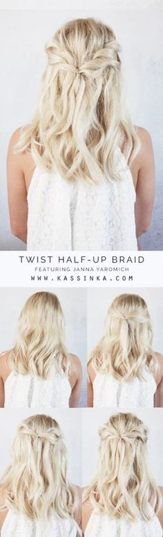 KASSINKA Twist half up hair tutorial for shorter. The post KASSINKA Twist half up hair tutorial for shorter. appeared first on Fox. Trendy Hairstyles, Short Haircuts, Bohemian Hairstyles, Summer Hairstyles For Medium Hair, Half Up Hairstyles Easy, Medium Length Hair Updos, Medium Length Wedding Hair, Hairstyles 2018, Beautiful Hairstyles