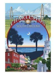 Charleston, South Carolina - Town Views - Lantern Press Artwork (Art Print Available) Hilton Head South Carolina, Charleston South Carolina, Charleston Sc, Vintage Travel Posters, Poster Vintage, Poster Prints, Art Prints, Poster Wall, Framed Prints