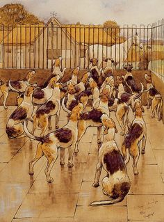 The hounds began suddenly to howl in chorus  Print by Cecil Charles Windsor Aldin