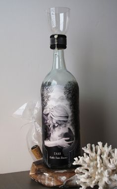 Family Sand Ceremony Bottle With Your Photos, Hand Painted Wine Bottle, Personalized Destination Wedding Decor, Wedding Gift. $65.00, via Etsy.
