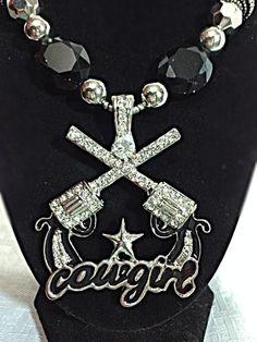 Necklace Western Cowgirl Rhinestone Pistol Guns Chunky Womens Magnetic Pendant #ssfashion #Pendant