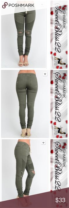 Olive Moto Jeggings These will sell out fast! Grab your size now! Just when you thought fashion could not get any better... It has! We have combined the moto style with the comfort of jeggings! Don't miss your opportunity to own a pair, or two!! Pants