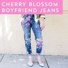 Watch and follow this style DIY video tutorial to learn how to make your own pair of Blake Lively-inspired cherry blossom boyfriend jeans.