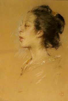 Japanese Girl in Profile  Pastel on sand paper, 13-1/2 x 9-1/2 inches