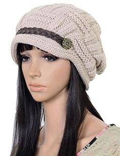 ELACUCOS Women Winter Beanie Cabled Checker Pattern