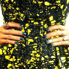 Closer look at the print on Eva's Thakoon dress. Nail polish is Sally Hansen's Scarab (out this fall)