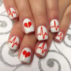 Heartbeat Stencils for Nails, Valentine's Day Nail Stickers, Nail Art, Nail Vinyls – nailart Manicure, Gel Nails, Acrylic Nails, Coffin Nails, Stiletto Nails, Nail Design Glitter, Nail Design Spring, Nails Design, Cute Nails