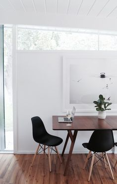 Grey and Scout | Interior Inspiration: BIG ART white walls with black contrast chairs