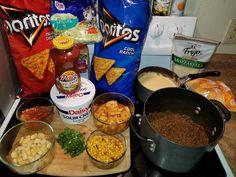 Shrimp and Scallop Dorito taco Nachos Dorito Taco Salad Recipe, Taco Salad Doritos, Taco Salad Recipes, Taco Salads, Mexican Food Recipes, Salades Taco, Shrimp Nachos, Daisy, Food Goals